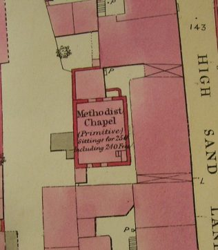 Ground plan of Cockermouth, High Sand Went PM Chapel from OS 1 to 500 Cumberland LIV 4 22 circa 1860