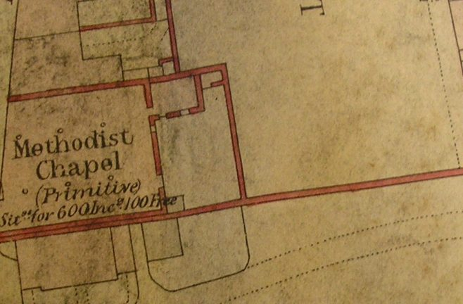 Ground plan of Whitehaven, Howgill Street  PM  Chapel from 0S 1 to 500 Cumberland LXVII 2 23 circa 1860 ii | G W Oxley