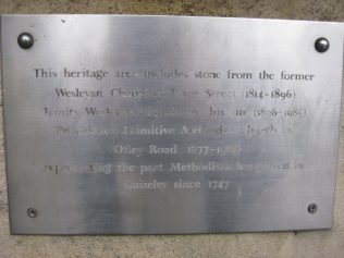 Photo No.10 Plaque at the present Guisely Methodist Church