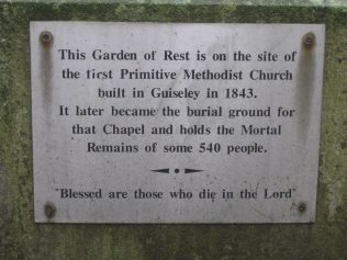 Photo No.5 Plaque on monument in the site of the 1843 chapel