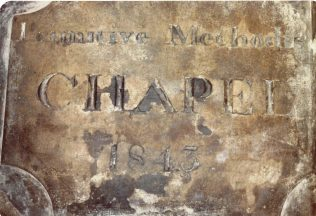 Photo No.2 The 1843 PM Chapel plaque. | Aireborough Historical Society
