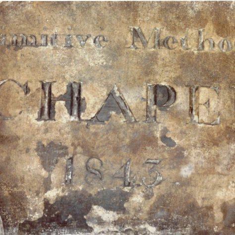 Photo No.2 The 1843 PM Chapel plaque. | Aireborough Historical Society