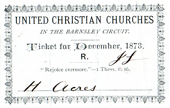 Henry Bilton Akers received Class Tickets in Barnsley, Yorks in 1873.