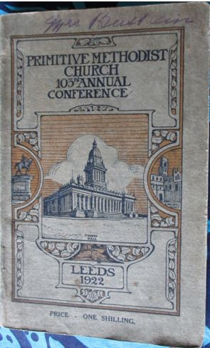 Handbook cover for the 1922 Primitive Methodist Conference held in Leeds   Englesea Brook Museum collection