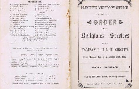 Halifax I,II,III Circuit Primitive Methodist Preachers' Plan
