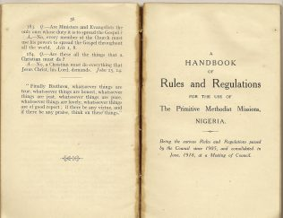 A Handbook of Rules and Regulations for the use of The Primitive Methodist Missions, Nigeria, 1918 | Englesea Brook Museum