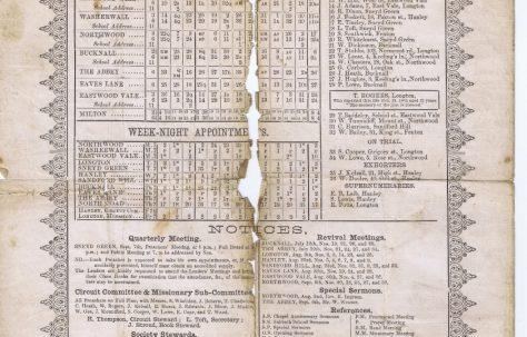 Hanley Circuit Primitive Methodist Preacher's Plan