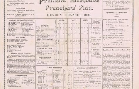 Hendon Circuit Primitive Methodist Preacher's Plan