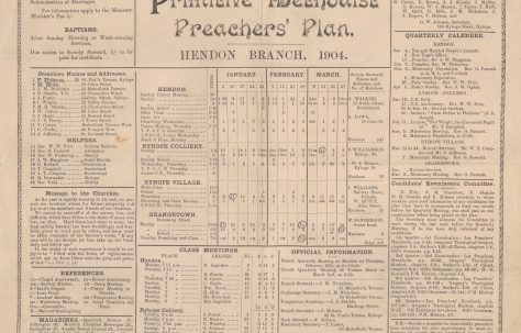 Hendon Circuit Primitive Methodist Preachers' Plan