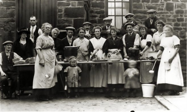 Soup Kitchen operated by the Heworth Colliery PM Chapel (pictured outside the chapel) 1926 | Bede Circuit Archive Collections