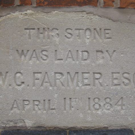 Photo taken of a foundation stone in September 2017 | E & R Pearce