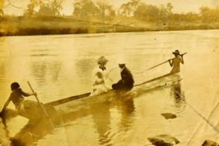 Here are Walter, Nellie and baby Margaret on the Zambesi. My mother was baptised at the river. Is this her christening day?