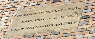 Horsehay Primitive Methodist chapel datestone | Christopher Hill August 2018