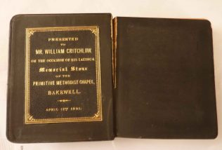 Hymnal open to show inscription | David Millington