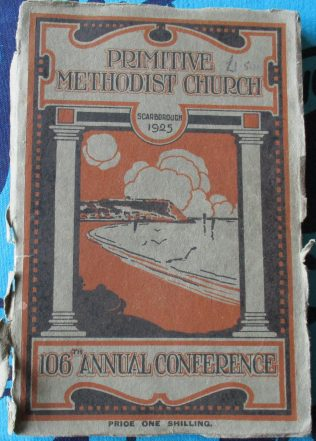 Cover of the 1925  Primitive Methodist Conference held in Scarborough | Englesea Brook Museum collection