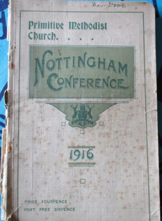 Cover of the Conference Handbook from the 95th Primitive Methodist Conference held in Nottinghamin 1916 | Englesea Brook Museum collection