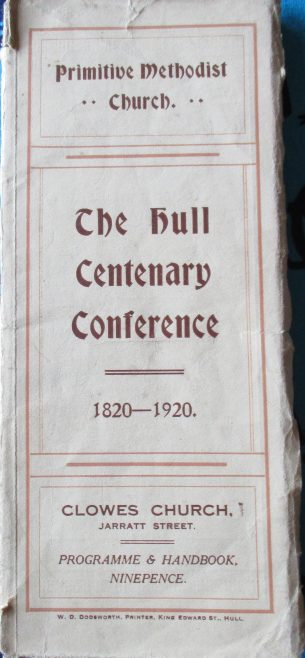 Handbook cover for the 1920 Primitive Methodist Conference held in Hull | Englesea Brook Museum collection