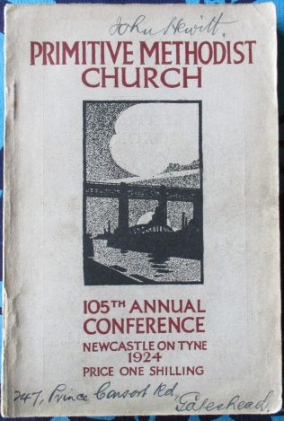 Handbook cover for the 105th Annual Primitive Methodist Conference held in Newcastle in 1924