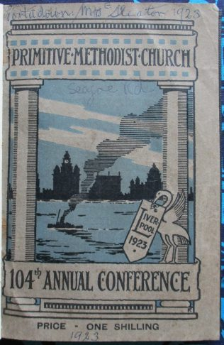 Handbook cover for the 104th Annual Primitive Methodist Conference held in Liverpool in 1923 | Englesea Brook Museum of Primitive Methodism