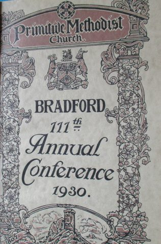 Handbook cover for the 111th Annual Primitive Methodist Conference held in Bradford in 1930 | Englesea Brook Museum of Primitive Methodism