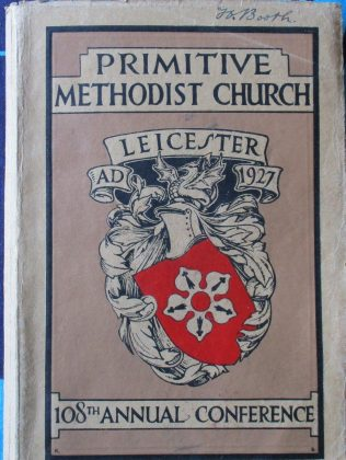 Handbook cover for the 108th Annual Primitive Methodist Conference held in Leicester in 1927 | Englesea Brook Museum collection