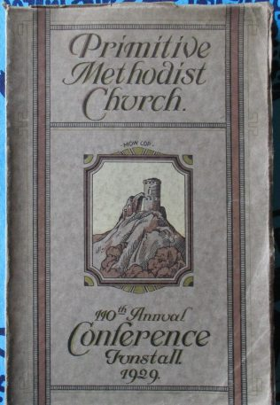 Cover of the 1929  Primitive Methodist Conference held in Tunstall | Englesea Brook Museum collection
