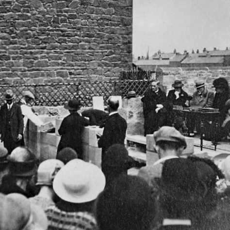 The stone laying ceremony for Seahouses Primitive Methodist Church 1925. The minister was Rev T H Berryman and among the guests were Sir Walter and Lady Runciman, who gave most of the cost of building. | George Scott