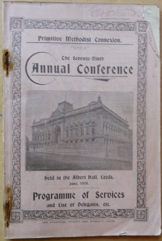 Handbook cover for the 79th Annual Primitive Methodist Conference | Englesea Brook Museum collection