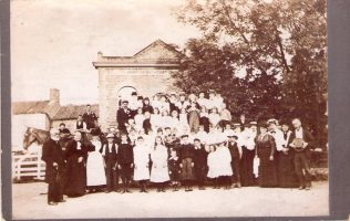 Chapel Anniversary in 1890's. Thomas Whitehead is on the extreme left.   Supplied by David Leese