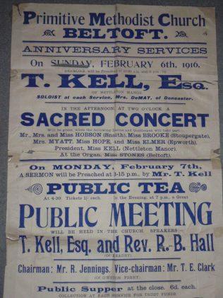 1916 Anniversary service poster | Rev. David Leese