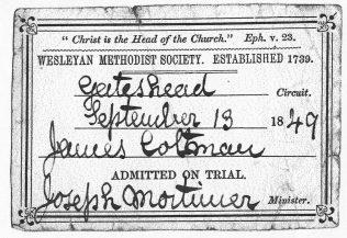 James Coltman - first class ticket