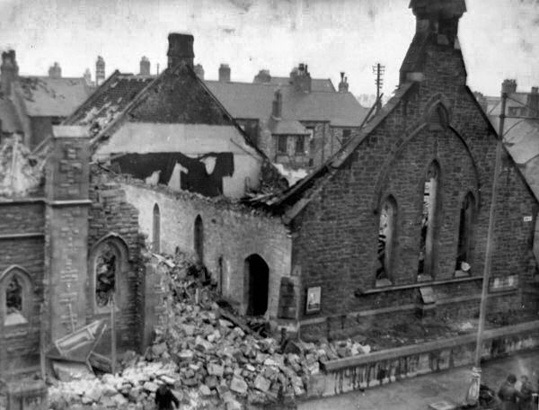 Bomb damage to John Street PM Chapel, Cullercoats, 8 August 1942