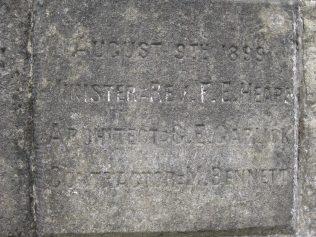 August 9th 1899 / Minister - Rev. F.E. Heap(s) / Architect - G.E. Garlick / Contractor - M. Bennett