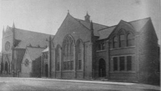 Leicester; Claremont Street Primitive Methodist Sunday Schools with the Church in the background.  This was one of the venues for the 1907 Primitive Methodist Conference | Primitive Methodist Conference Handbook 1907