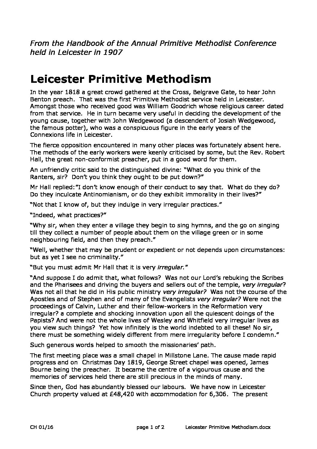 Leicester and Primitive Methodism