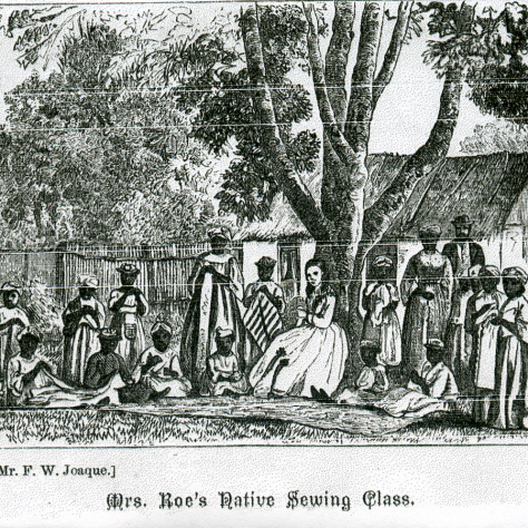 Elizabeth Roe and her sewing class | Mr. F. W. Joaques