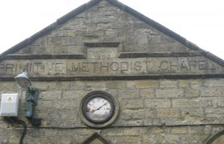 Chapel name, rebuild date of 1898 and a tired looking clock | Photo taken June 2018 by E & R Pearce