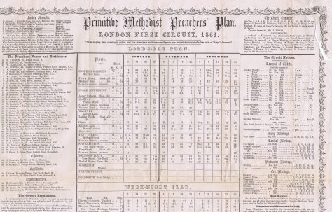 London First Circuit Primitive Methodist Preachers' Plan