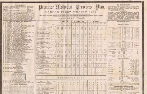 London First Circuit Primitive Methodist Preachers' Plan