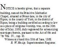 Entry in the London Gazette, 12 June 1868