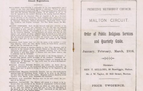 Malton Circuit Primitive Methodist Preachers' Plan