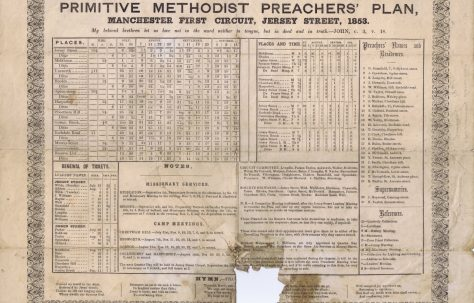 Manchester First Circuit Primitive Methodist Preachers' Plan