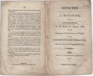 Minutes of a Meeting held at Nottingham, August 1819 | Englesea Brook Museum