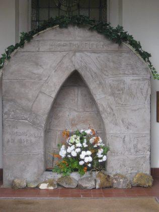 Looking through the front doors of chapel