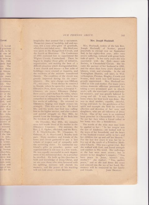 Hucknall, Joseph (1837-1915)  Obituaries of Joseph and his wife.
