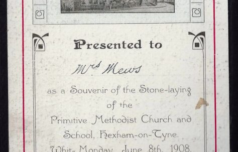 Stone laying of PM Chapel, Hexham-on-Tyne