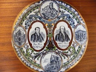 A plate commemorating the centenary of the first open air camp meeting at Mow Cop in 1807