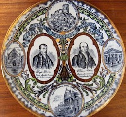 Words from the chorus appear on this centenary plate produced in 1907