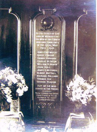 WW1 War Memorial inside North Street Chapel