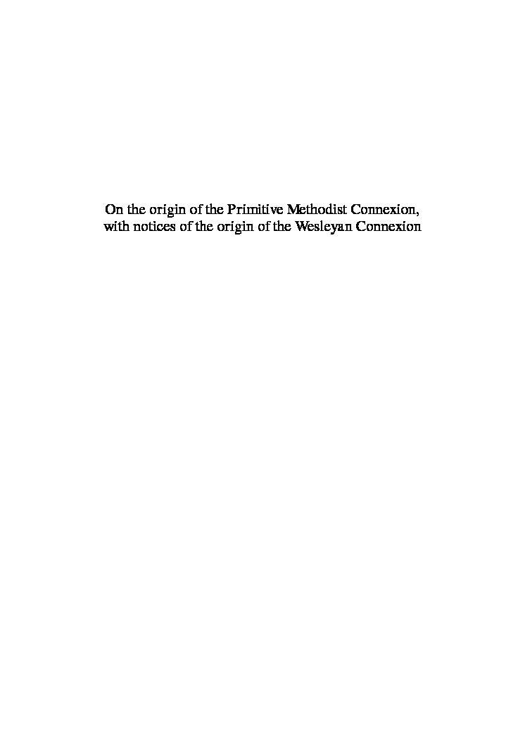 On the origin of the Primitive Methodist Connexion